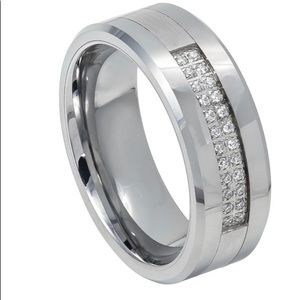 Other - Silver tungsten ring with double row CZs